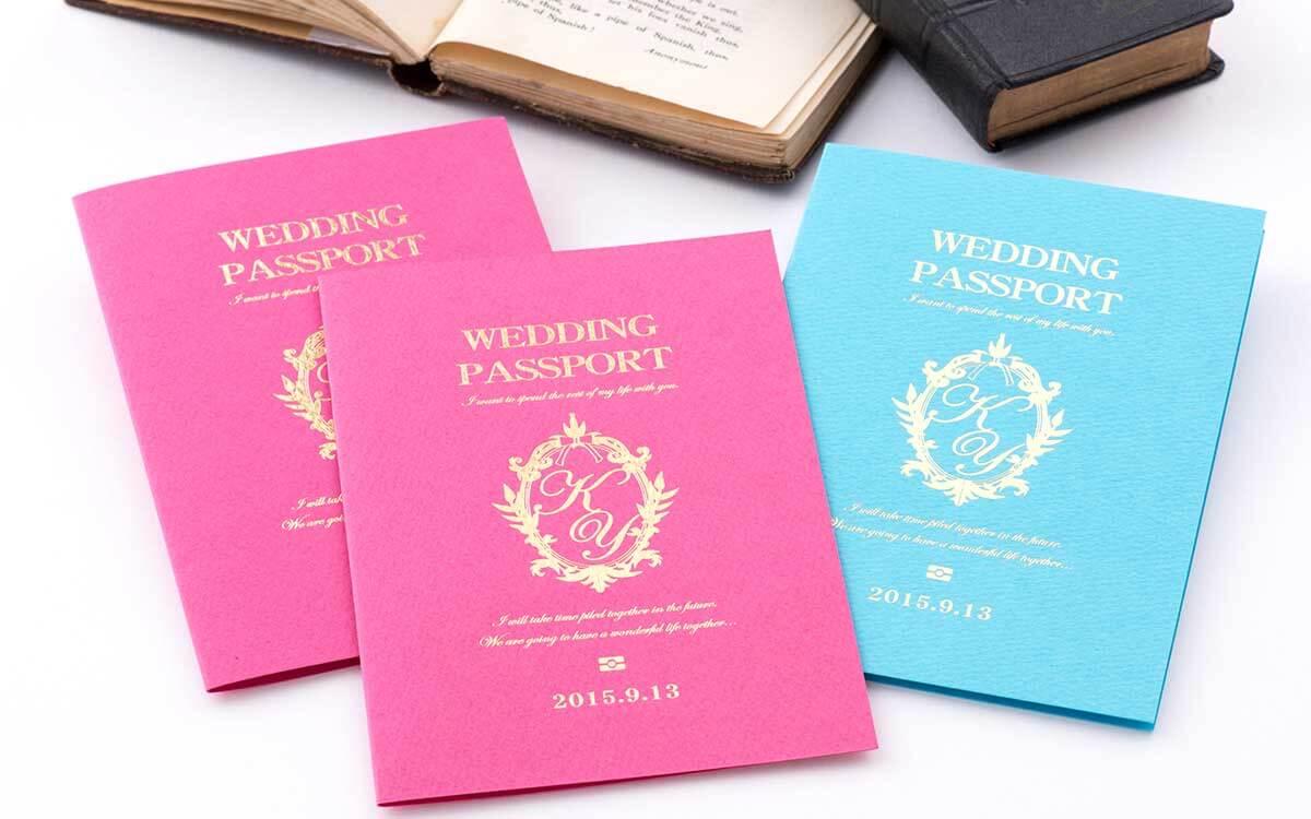 海外挙式用パステルカラー パスポート風招待状セット
