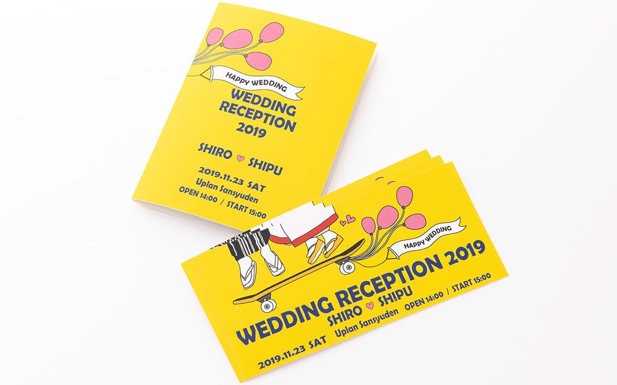 フェス風結婚式席次表と招待状(フェス婚・プロフィールブックとフェスチケット風招待状)